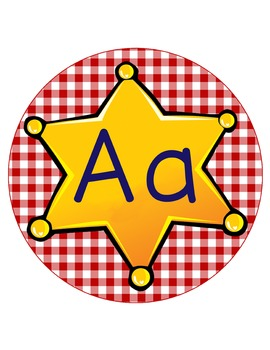 WESTERN - CIRCLE Bulletin Board Letters / Word Wall / red gingham / Aa to Zz