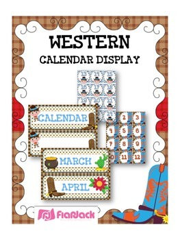 WESTERN COWBOY Themed Calendar Display Set