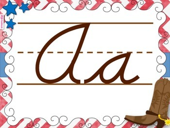 WESTERN COWBOY Themed Cursive Alphabet Posters