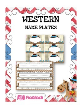WESTERN COWBOY Themed Name Tags Plates