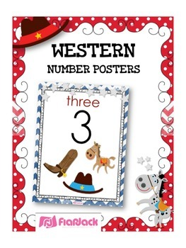 WESTERN COWBOY Themed Number Posters 0 to 20