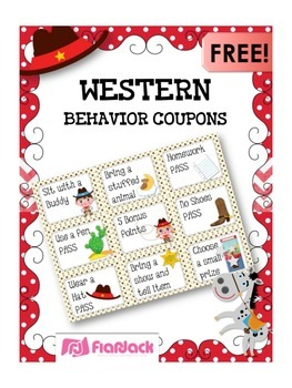 WESTERN COWBOY Themed Positive Behavior Reward Coupons FREEBIE