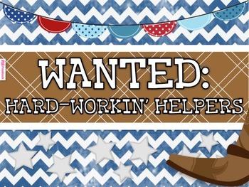 WESTERN COWBOY Themed Student Jobs Display