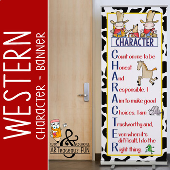 WESTERN - Classroom Decor: LARGE BANNER, CHARACTER, cow print