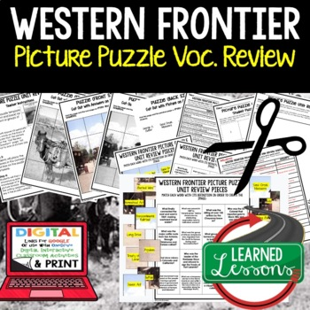 WESTERN FRONTIER Picture Puzzle Unit Review, Study Guide,
