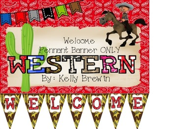 {WESTERN I} Welcome Pennant Banner ONLY