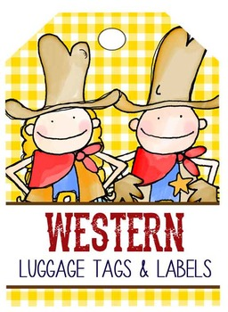 WESTERN - Labels and Luggage Tags, MS Word, EDITABLE