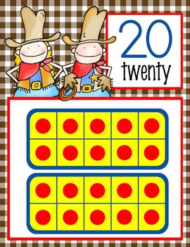 WESTERN - Number Line Banner, 0 to 20, Illustrated / gingham