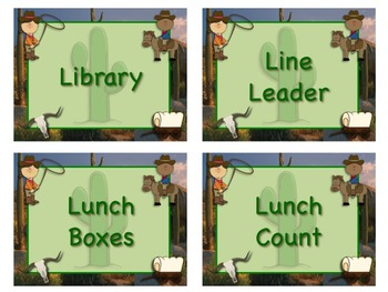 WESTERN Theme Job Chart Cards/Signs - Great for Classroom Management! YEE-HAW!