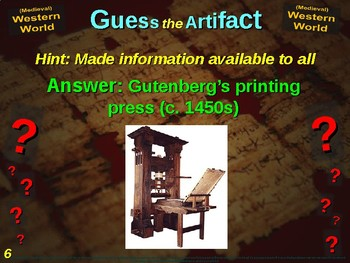 "WESTERN WORLD (medieval) ""Guess the Artifact"" - for HS World History (2/10)"