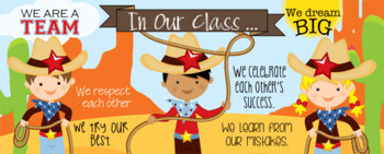 WESTERN kids - Classroom Decor: LARGE BANNER, In Our Class - horizontal