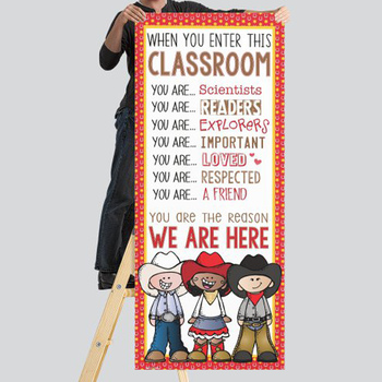 WESTERN kids - Classroom Decor: LARGE BANNER, When You Enter This Classroom