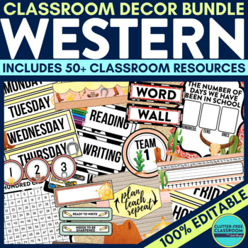 WESTERN THEME Classroom Decor - EDITABLE Clutter-Free Clas
