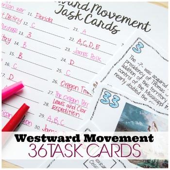 WESTWARD MOVEMENT AND MANIFEST DESTINY TASK CARDS