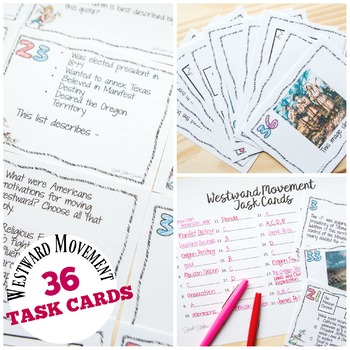 WESTWARD MOVEMENT AND MANIFEST DESTINY TASK CARDS