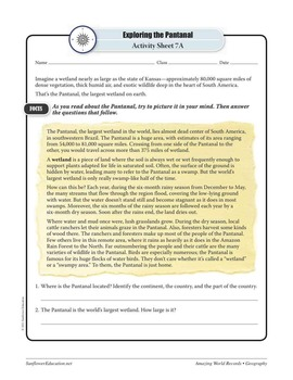 WETLANDS—Geography Worksheets and Activities