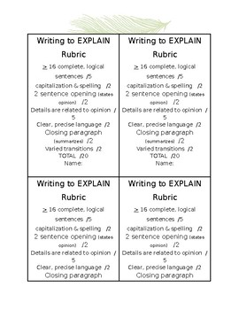 WFTBB Writing to Explain Why Rubric
