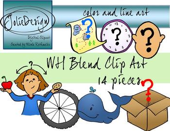WH Blend Phonics Clip Art Set - Color and Line Art 14 pc set