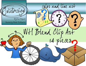 WH Blend Phonics Clip Art Set - Color and Line Art 14 pc set