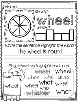 WH Digraph Word Work & Activities