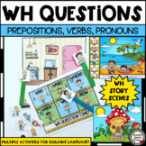 WH QUESTIONS BOOKMARKS, PREPOSITIONS, VERBS, PRONOUNS visuals Speech Therapy