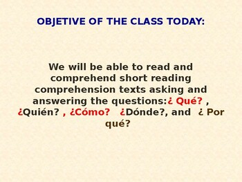 WH- QUESTIONS / SPANISH READING COMPREHENSION