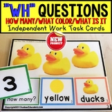 "WH QUESTIONS Task Cards HOW MANY/COLOR/WHAT IS IT ""Task Box Filler"" for Autism"