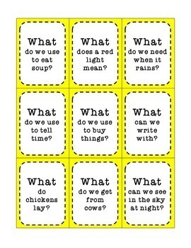 WH-Question Activity Cards