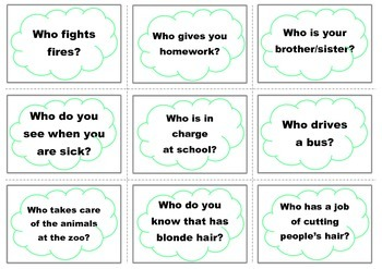 WH Question Cards (Who)