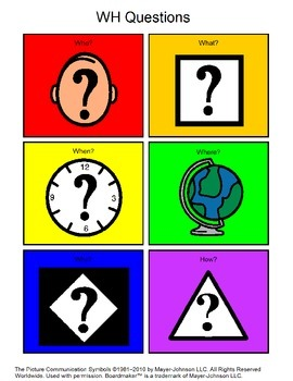 WH Question Picture Cards made with Boardmaker for Students with Autism/Dyslexia