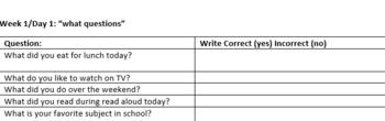 WH Question Checklist