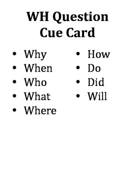 WH Question Cue Card