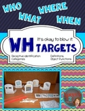 WH Question Darts: Receptive vocabulary, categories, vocabulary