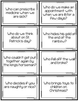 WH Question Darts: Receptive vocabulary, categories, vocabulary