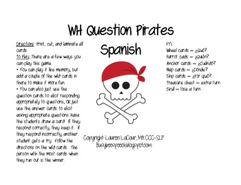 WH Question Pirates (SPANISH)