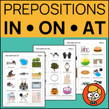 "Wh Question Task Cards for Eliciting Prepositions ""In, On, At"""