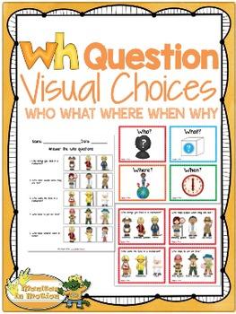 wh question visual choices by gloria rojas teachers pay teachers