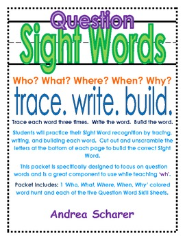 """WH"" Question Words--Sight Words"