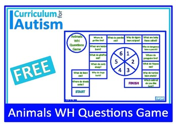 WH Questions Animal Facts Spinner Game Autism Speech ESL