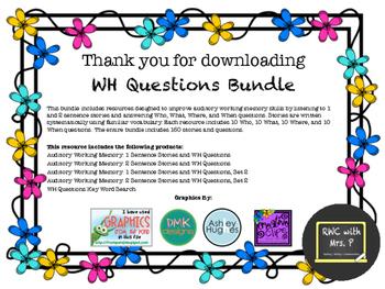 WH Questions Bundle - 1 & 2 Sentence Listening Comprehension