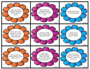 WH Questions, Conversation starters, Spring,  Fluency, articulation