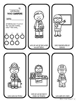 WH Questions Homework Minibooks