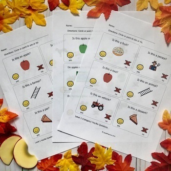 WH Questions Interactive Book and Yes/No Worksheets – Apples Theme