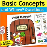 WH Questions Interactive Book for Positional Words Next To and Between