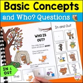 WH Questions Interactive Book for Positional Words In and Out