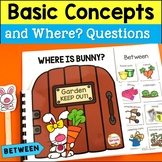 WH Questions Interactive Book for Spring for Positional words: Between