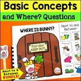 WH Questions Interactive Books for Positional words: Next To and Between Bundle