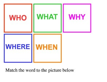 WH Questions ~  Matching activity for comprehension ~ Freebie