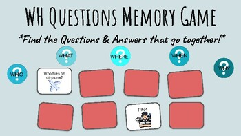 WH Questions Memory Game