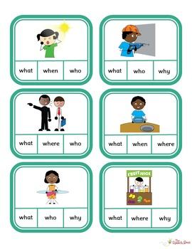 WH Questions: Picture and Task Cards (STACK)